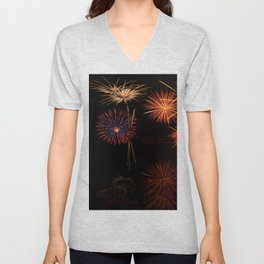 Fireworks Reflection In Water Panorama Unisex V-Neck