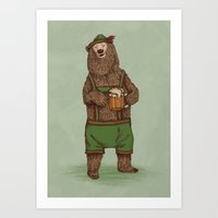 german Art Prints featuring Traditional German Bear by WanderingBert / David Creighton-Pester