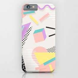 80s / 90s RETRO ABSTRACT PASTEL SHAPE PATTERN iPhone Case
