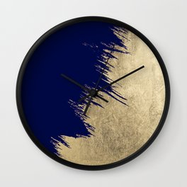 Navy blue abstract faux gold brushstrokes Wall Clock