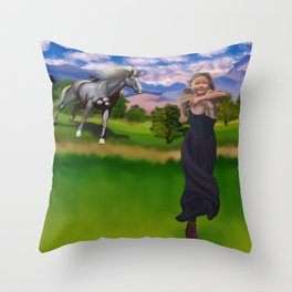 Princess Bitey vs. The Big Sis Throw Pillow