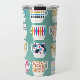 Vintage Teacups - Mid Century, Retro Teacups in pop colors by Andrea Lauren Travel Mug