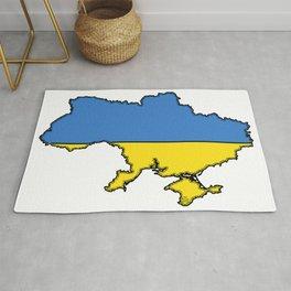 Ukraine Map with Ukrainian Flag Rug