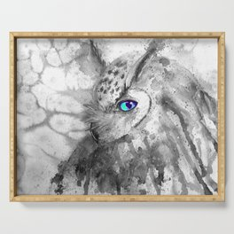 black and white: owl Serving Tray
