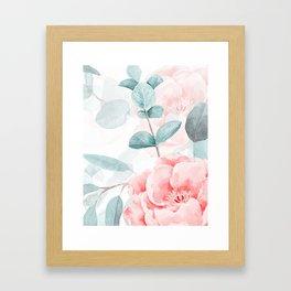 Rose Blush Watercolor Flower And Eucalyptus Framed Art Print