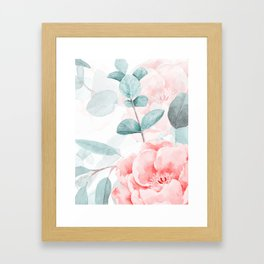 Rose Blush Watercolor Flower And Eucalyptus Framed Art Print
