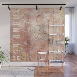 From Paris With Love In Salmon-Rosé Wall Mural