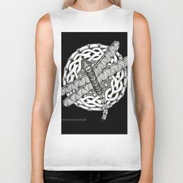 Zentangle Dragonfly Black and White Illustration Biker Tank