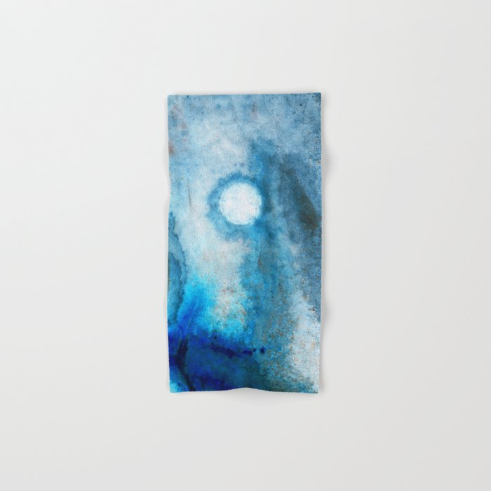 Abstract Landscape Art - Blue Moon - By Sharon Cummings  Hand & Bath Towel