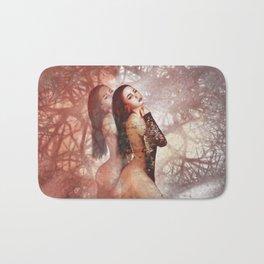 Beautiful asian girl with beauty face digital painting Bath Mat