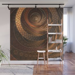 Earthen Brown Circular Fractal on a Woven Wicker Samurai Wall Mural