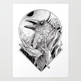 Crow b/w Art Print