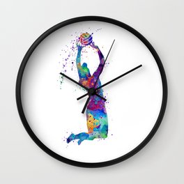 Volleyball Girl Setter Colorful Watercolor Art Wall Clock