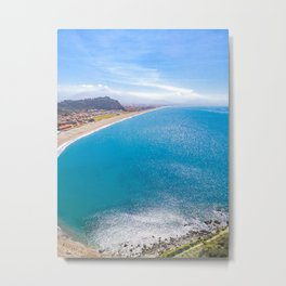 Sparkling sea brilliant water sunny day spring blue sky high view from top Metal Print