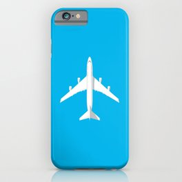 747-400 Jumbo Jet Airliner Aircraft - Cyan iPhone Case