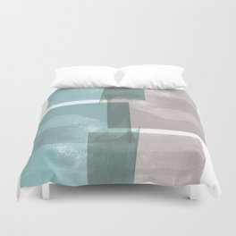 Modern Geometric Abstract Turquoise and Grey Duvet Cover