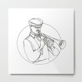 Jazz Musician Playing Trumpet Doodle Art Metal Print