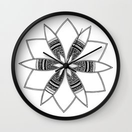 Simple black mandala on white Wall Clock