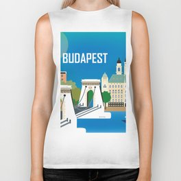 Budapest, Hungary - Skyline Illustration by Loose Petals Biker Tank