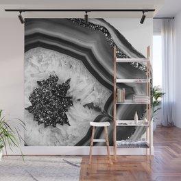 Gray Black White Agate with Black Silver Glitter #1 #gem #decor #art #society6 Wall Mural