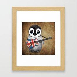 Baby Penguin Playing Union Jack British Flag Guitar Framed Art Print
