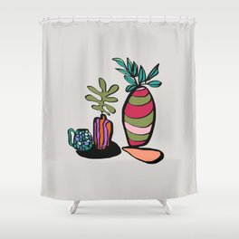 Minimalist Still Life Vases Shower Curtain