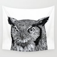 owl Wall Tapestries featuring Owl by Puddingshades