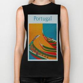 Portuguese Fishing Boats - Vintage Travel Biker Tank