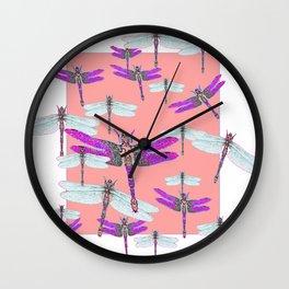 PURPLE  & GOSSAMER WHITE  DRAGONFLIES CORAL ART DESIGN  ART decor, furn Wall Clock