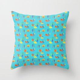 Octopus and Submarine fun Throw Pillow