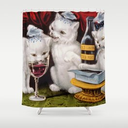 Three Bad Cats ( Tres Gatos Malos) with black clouds that follow them around portrait painting Shower Curtain