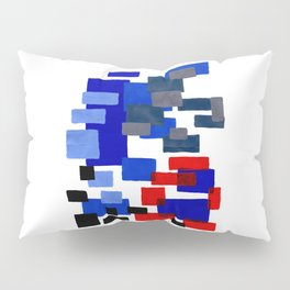 Modern Mid Century Abstract Geometric Cube Square Acrylic Painting Blue With Red Accents Pillow Sham