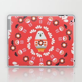 Floral circle with a little bear Laptop & iPad Skin