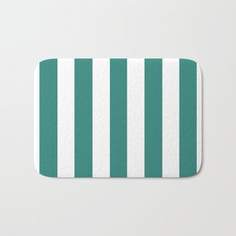 Celadon green - solid color - white vertical lines pattern Bath Mat