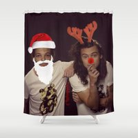 larry stylinson Shower Curtains featuring Noel and Rudolph - Larry Stylinson Christmas by girllarriealmighty