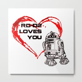 R2 -D2 Loves You Metal Print