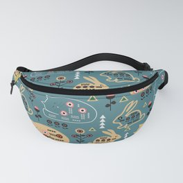 Folk bunnies and cats Fanny Pack
