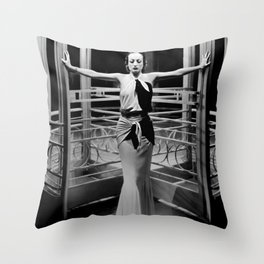 Joan Crawford, Hollywood Starlet Grand Hotel black and white photograph / art photography Throw Pillow
