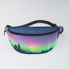 Aurora Borealis Over Wintry Mountains Fanny Pack