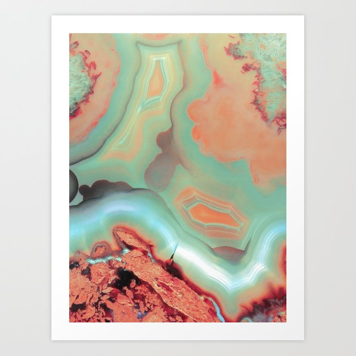 Living Coral and Teal Agate Art Print