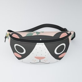 Jungle Cat Black and White Fanny Pack