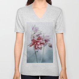 Red columbine flowers Unisex V-Neck