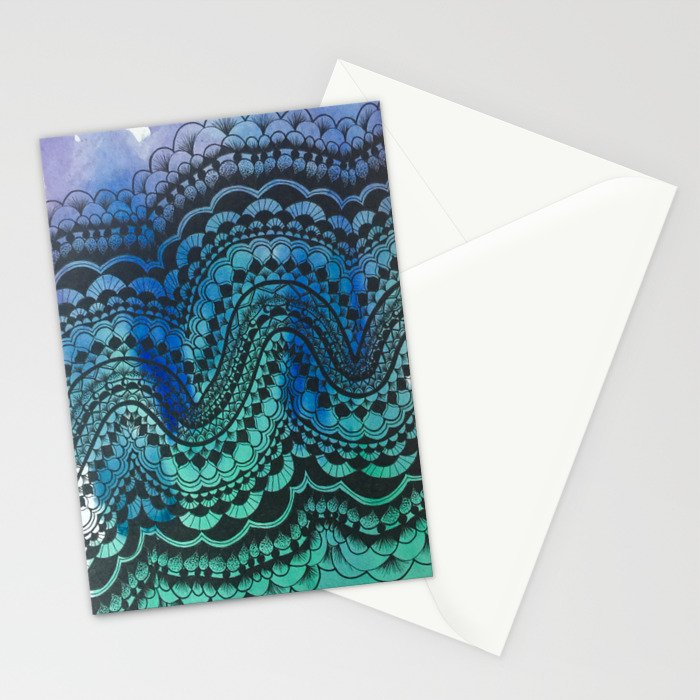 Blue Green Purple Wave Stationery Cards