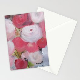 Roses and more Roses Abstract Original Painting White Blue Green Flowers Stationery Cards