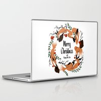 merry christmas Laptop & iPad Skins featuring Merry Christmas by Anya Volk