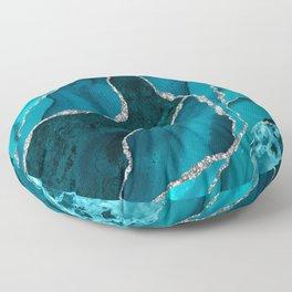 Ocean Waves Marble Teal Floor Pillow