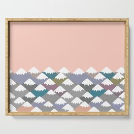 Nature background with Mountain landscape. Gray, pink, blue navy mountain with snow-capped peaks. Serving Tray