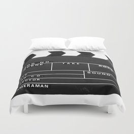 Film Movie Video production Clapper board Duvet Cover