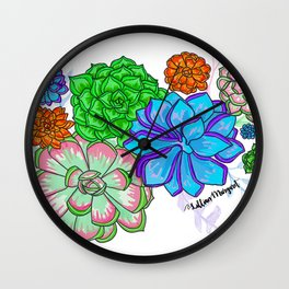 Saturated Succulents Wall Clock