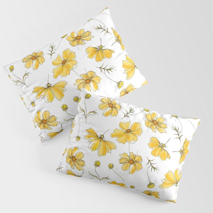 Yellow Cosmos Flowers Kissenbezug